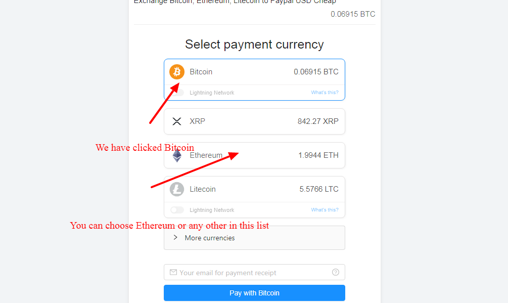 sell Crypto currency and exchange to PayPal
