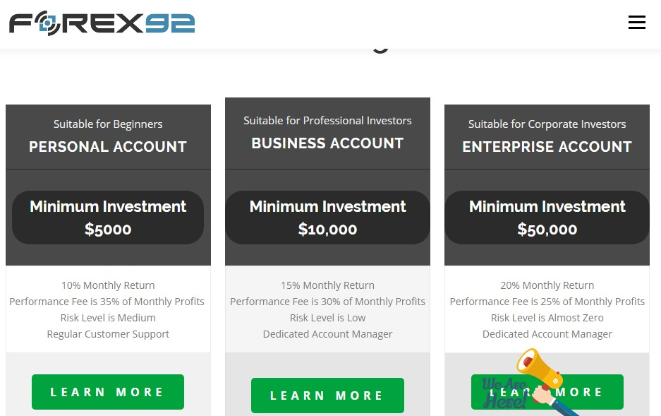 forex92 investment plans