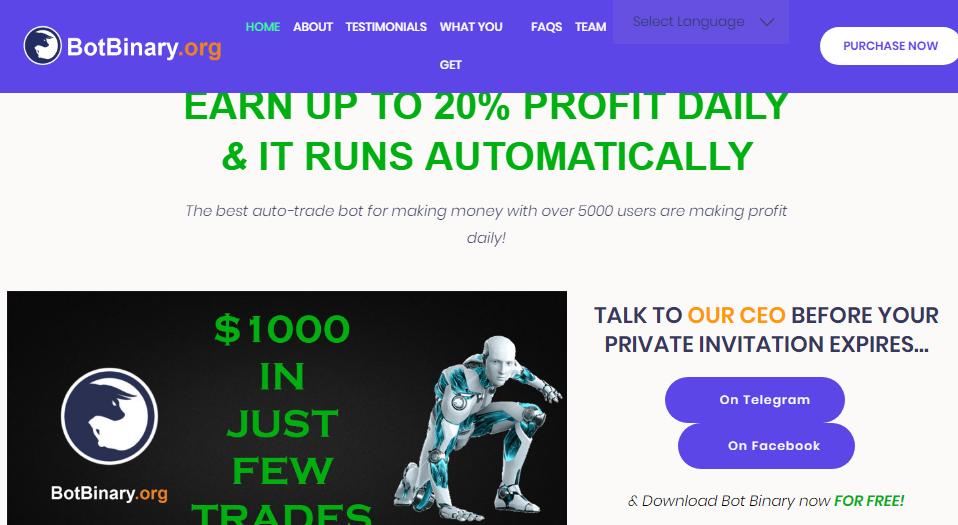 BotBinary org – 10% profit daily